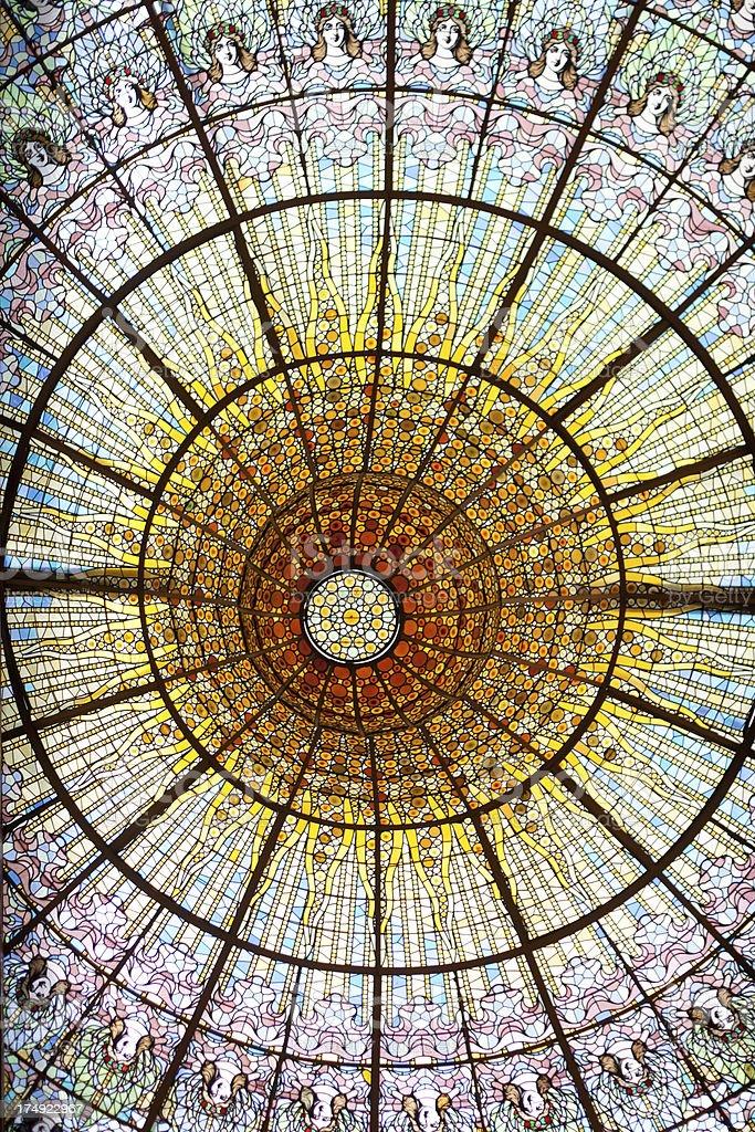 Stained glass skylight at Palau de la Musica, Barcelona, Spain stock photo