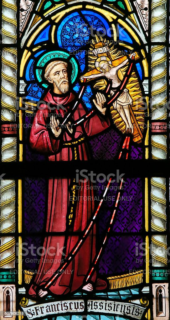 Stained Glass - St Francis of Assisi stock photo