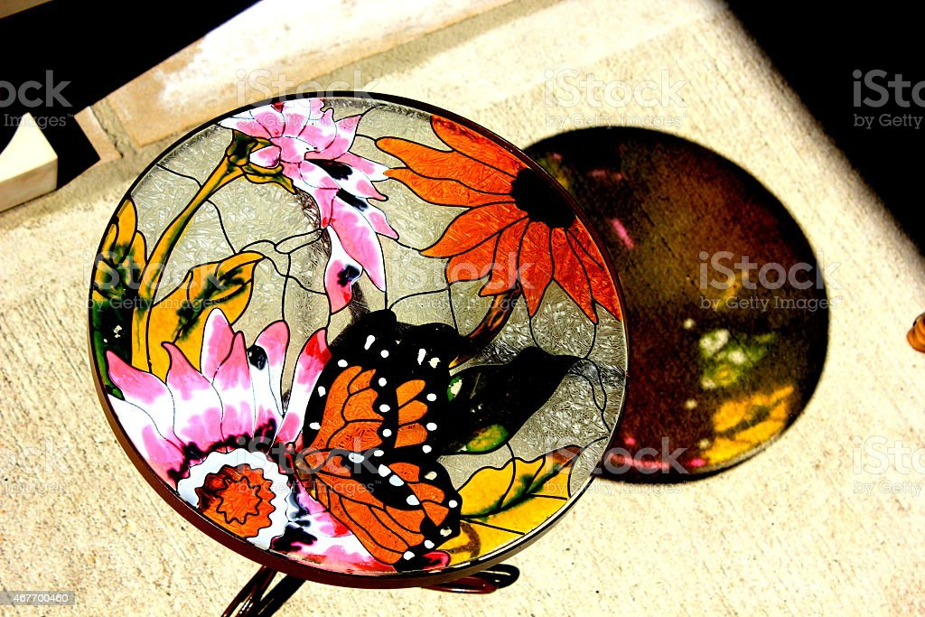 stained glass sunnerflies stock photo