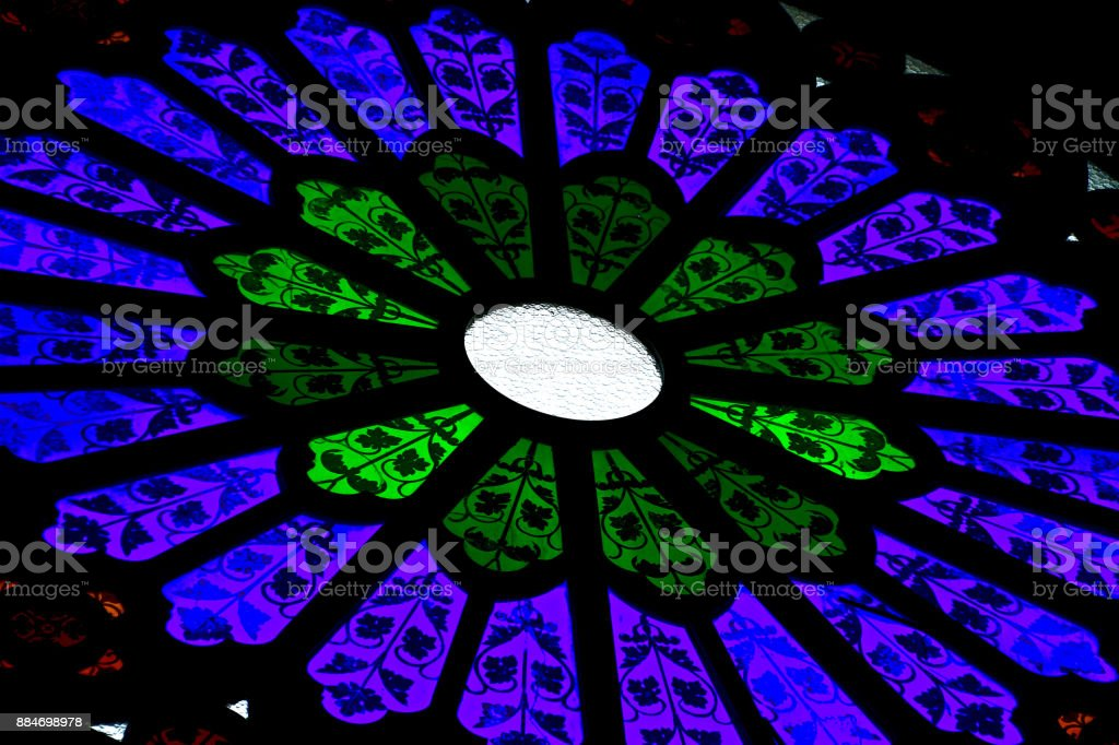 stained glass texture closeup view from inside stock photo