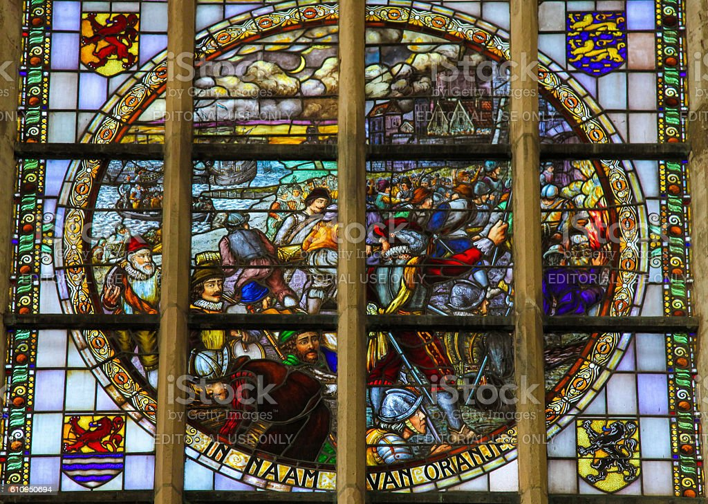 Stained Glass - the Capture of Brielle (1572) stock photo