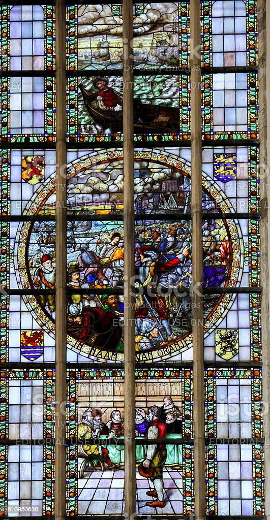 Stained Glass - the Capture of Den Briel (1572) stock photo