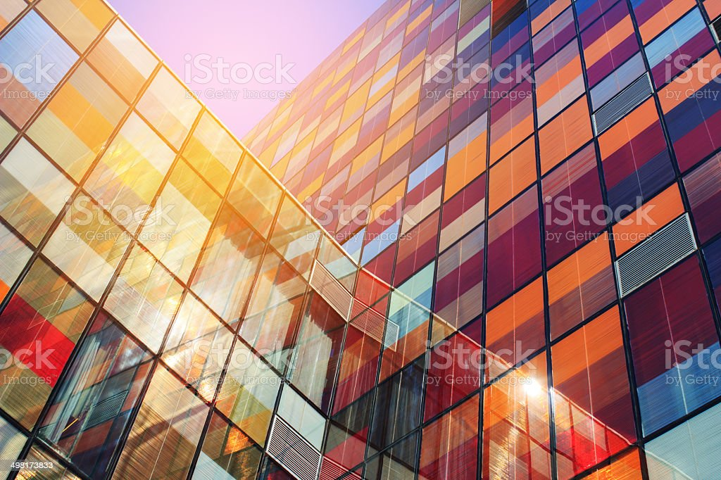 Stained glass wall stock photo