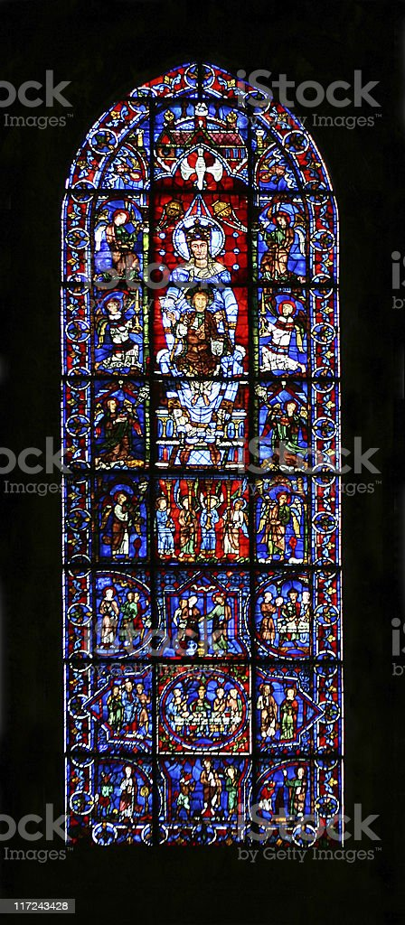 Stained Glass Window at Chartres Cathedral stock photo