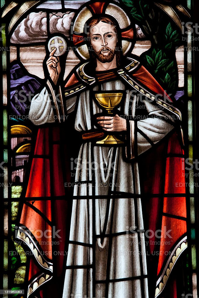 Stained glass window at rural church royalty-free stock photo