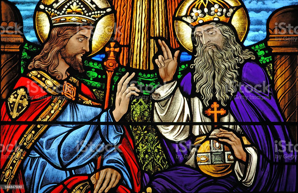 Stained glass window: At the right hand of God stock photo