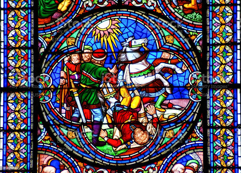 Stained glass window conversion of Saint Paul stock photo