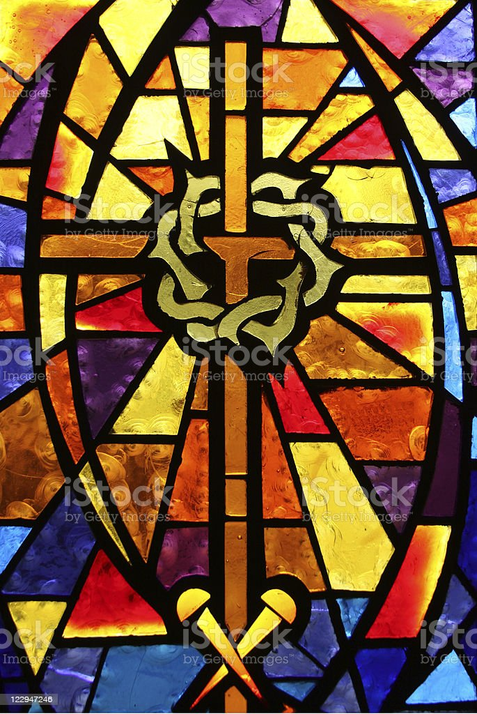 Stained Glass Window - Crown of Thorns/Easter Theme stock photo