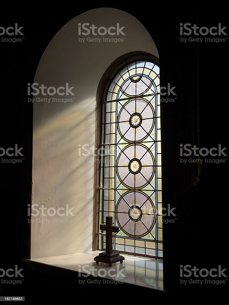 Stained glass window crucufix royalty-free stock photo