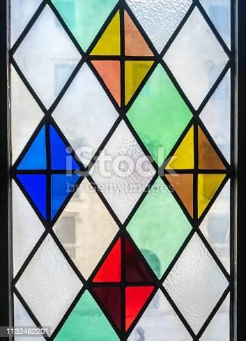 Stained glass window decoration Transparent colorful Art wall pattern