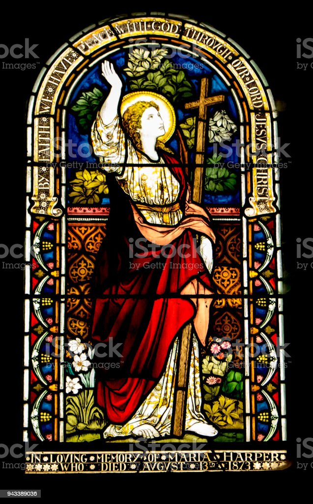 Stained Glass Window from 1873 stock photo