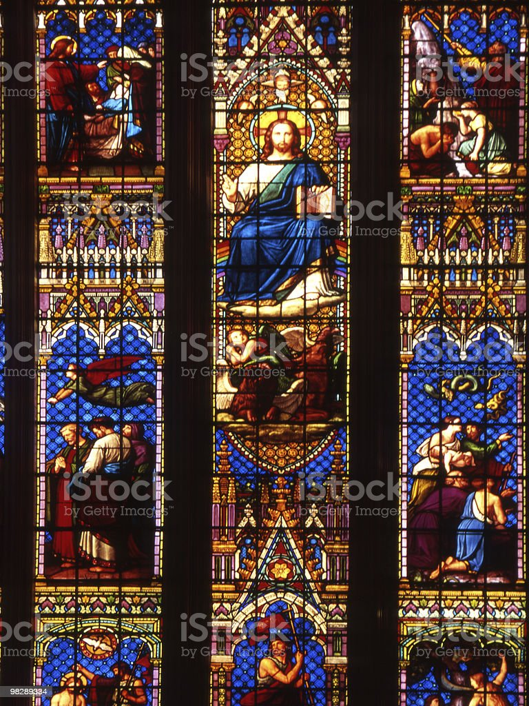 Stained glass window in Chichester Cathedral. England royalty-free stock photo