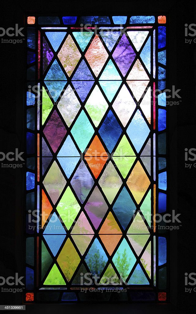 Stained Glass Window in Historic Church stock photo