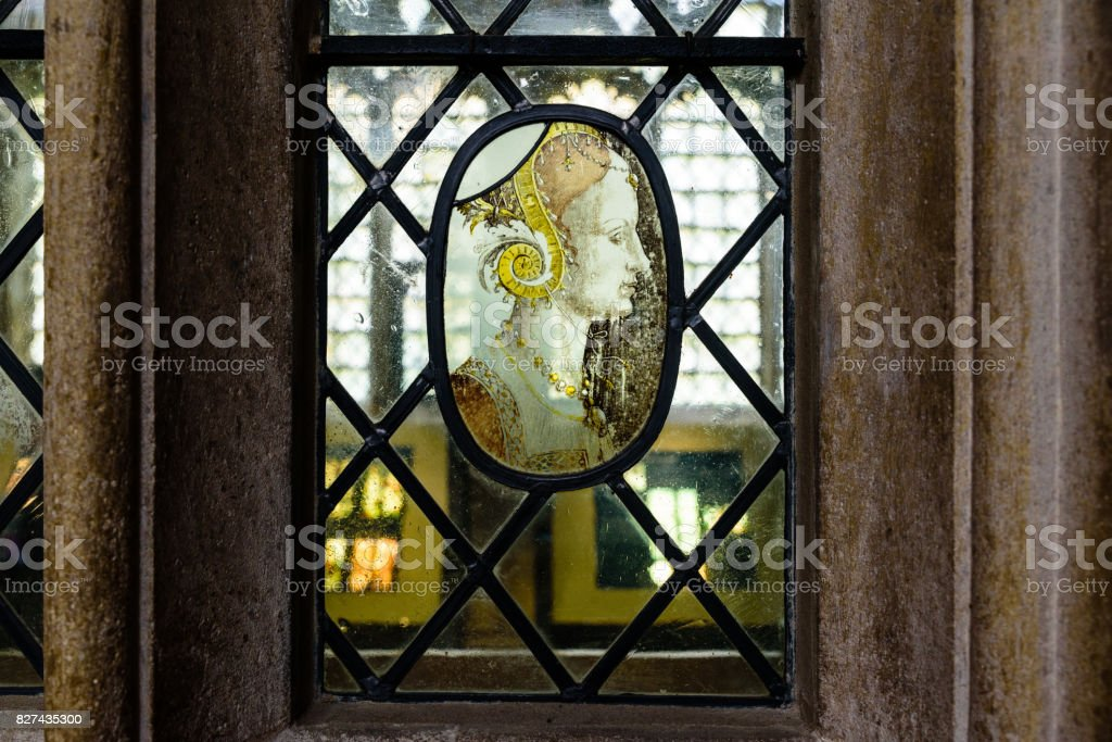 Stained Glass Window in King's College Chapel Cambridge UK stock photo