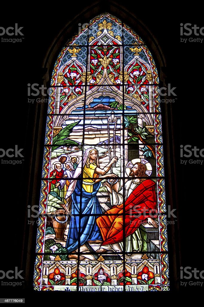 Stained Glass window in Quito, Ecuador stock photo