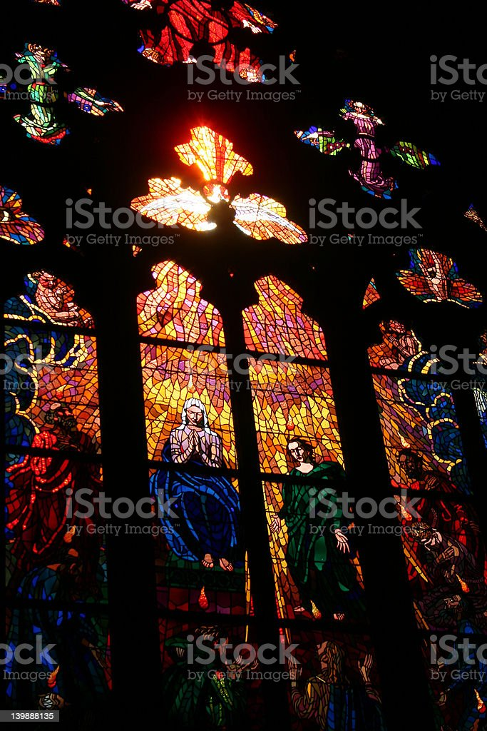 Stained Glass Window in the Prague Cathedral royalty-free stock photo