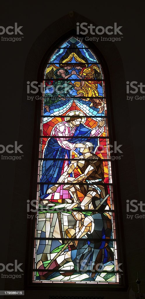 Stained glass window in Washington Masonic National Memorial royalty-free stock photo