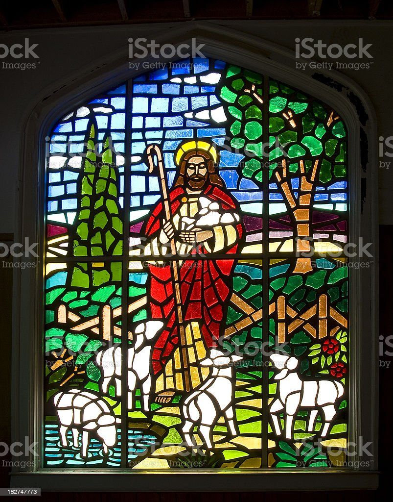 stained glass window jesus christ as the good shepherd