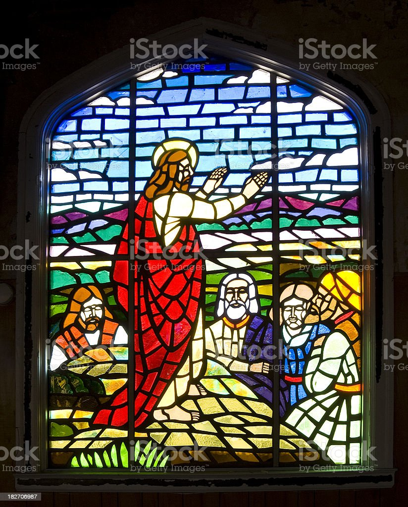 Stained Glass Window - Jesus Christ, Sermon on the Mount royalty-free stock photo