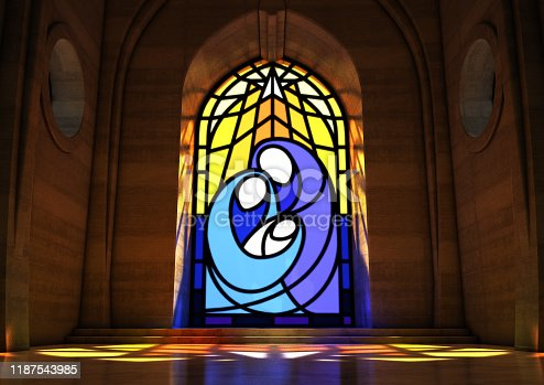 An empty grand stone church interior lit by the moon through a stained glass window depicting the nativity scene - 3D render
