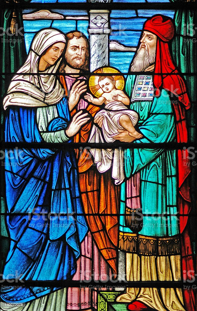 Stained glass window of  baby Jesus / 3 Wise Men stock photo