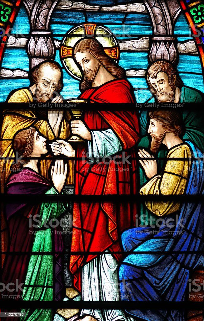 Stained glass window of Last Supper stock photo
