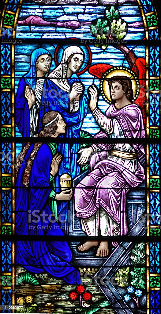 Stained glass window of Resurrection Angel stock photo