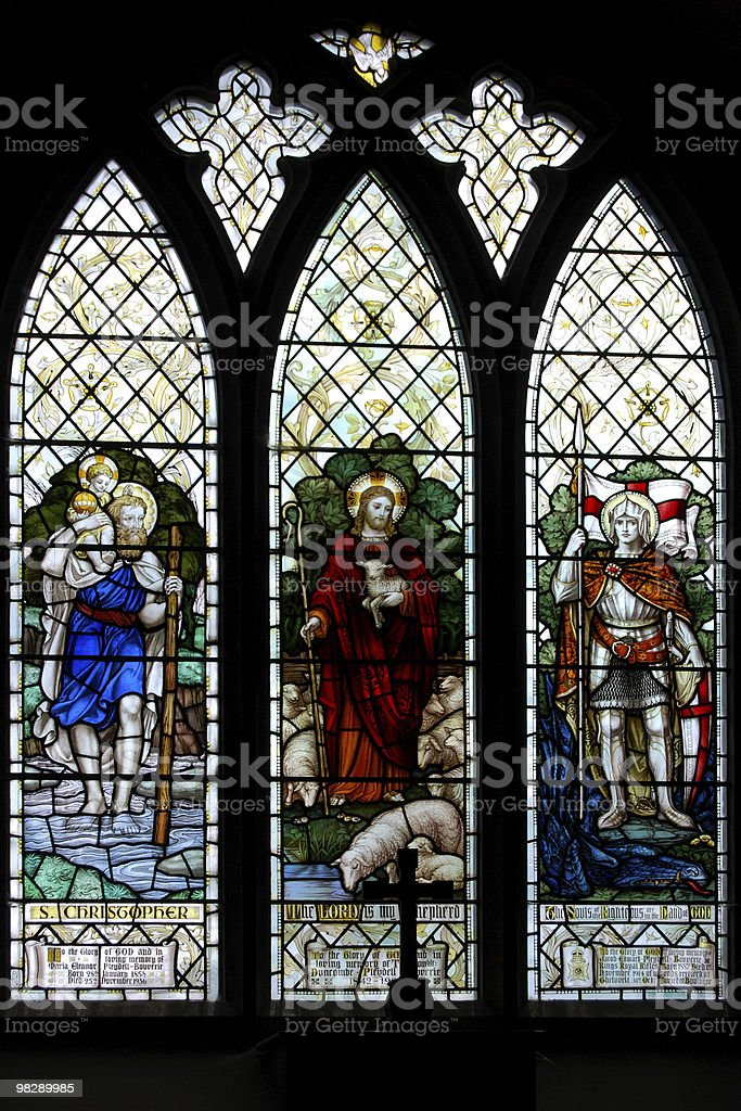 Stained Glass Window of Saint Christopher & The Good Shepherd royalty-free stock photo