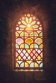 A stained glass window in a church in Pennsylvania.  The windows were created at the turn of the 20th. century.