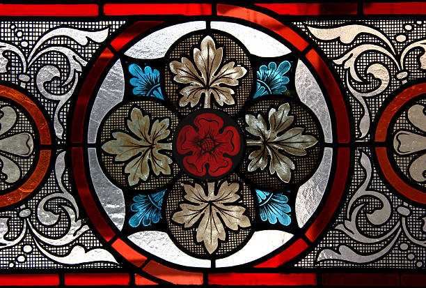 stained glass window - rose window stock pictures, royalty-free photos & images