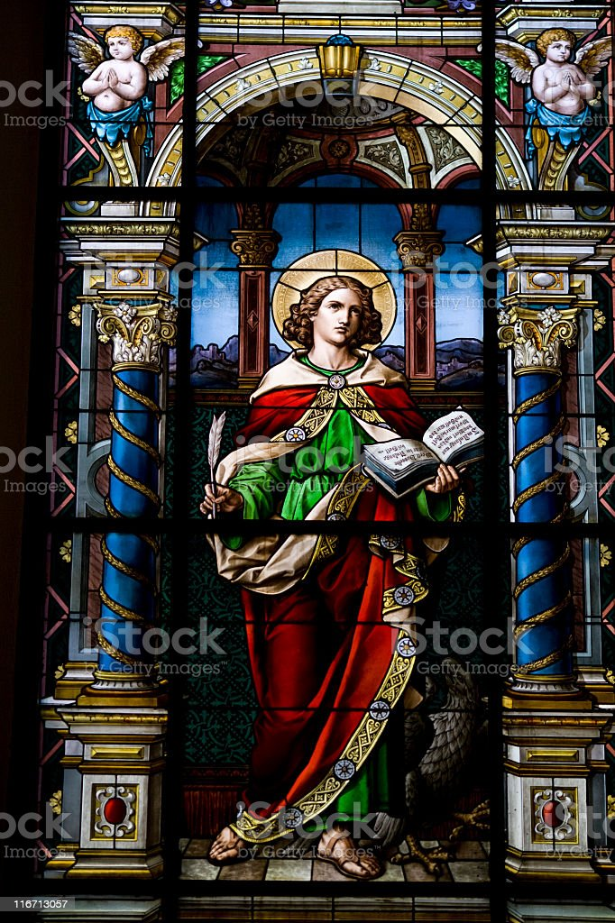 Stained glass window, Stockholm (Sweden) stock photo