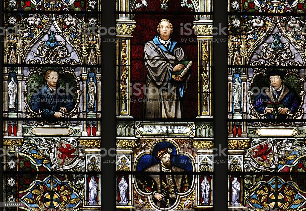stained glass window with Martin Luther stock photo