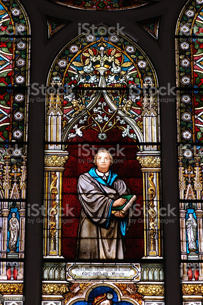 stained glass window with reformatory Martin Luther stock photo