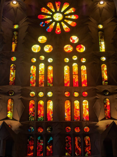 Stained glass windows - Barcelona stock photo