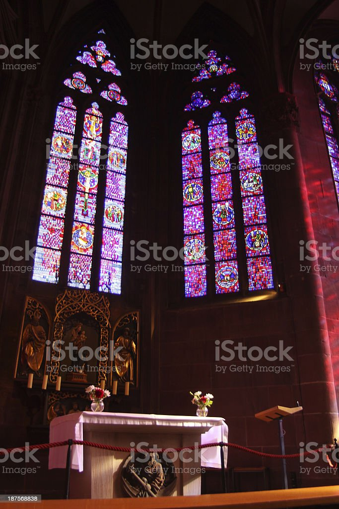 Stained Glass Windows In A German Church royalty-free stock photo