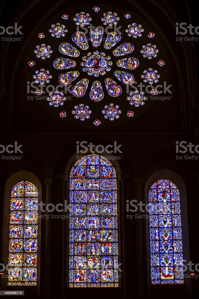 Stained glass windows in Cathedral of Our Lady, Chartres stock photo