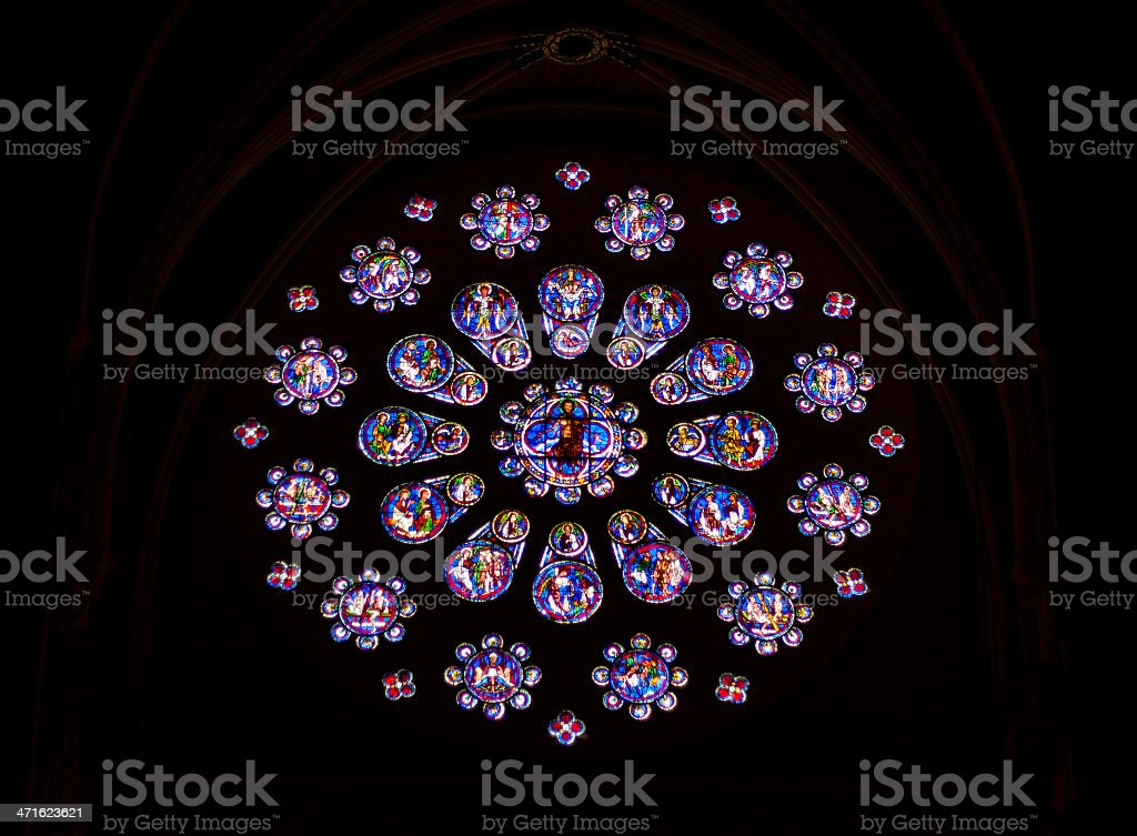 Stained glass windows in Cathedral of Our Lady, Chartres royalty-free stock photo