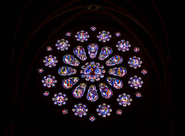 stained glass windows in cathedral of our lady, chartres - rose window stock pictures, royalty-free photos & images