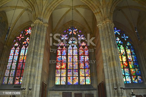 Prague, Czech Republic - June 08, 2017 :  Stained glass windows in St Vitus cathedral in Prague designed by artist Alfons Mucha