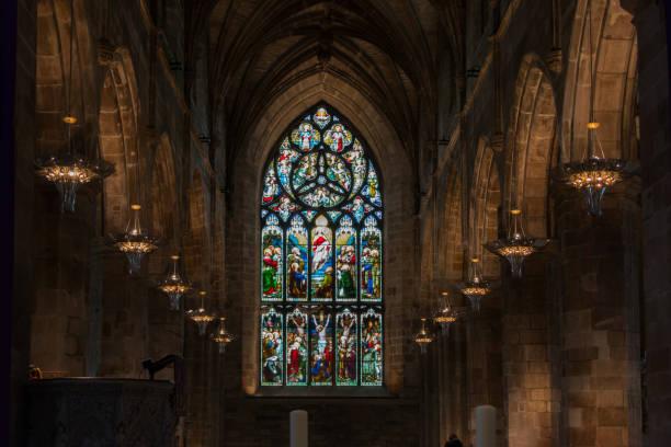 セント ・ ジャイルズ大聖堂、エディンバラでのステンド グラスの窓 - 教会 ストックフォトと画像