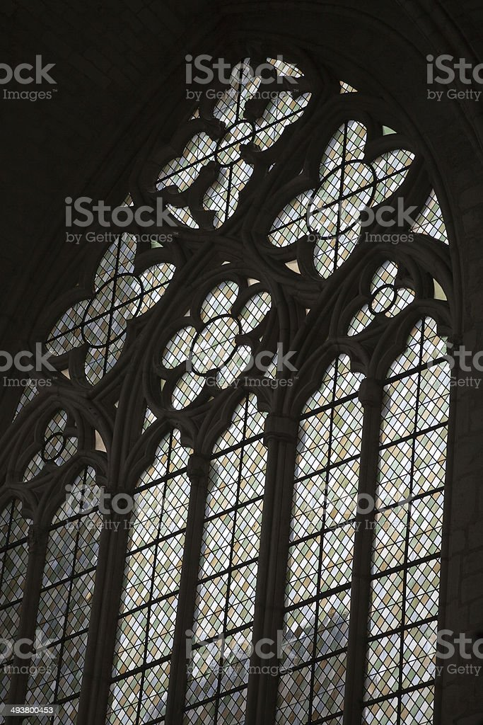 Stained glass windows of Saint Gatien cathedral in Tours stock photo