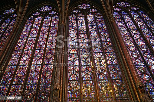 Paris, France - July 2, 2009:   The magnificent stained glass windows of the 13th century Sainte-Chapelle, the chapel of a former royal palace on the Ile de la Cite.