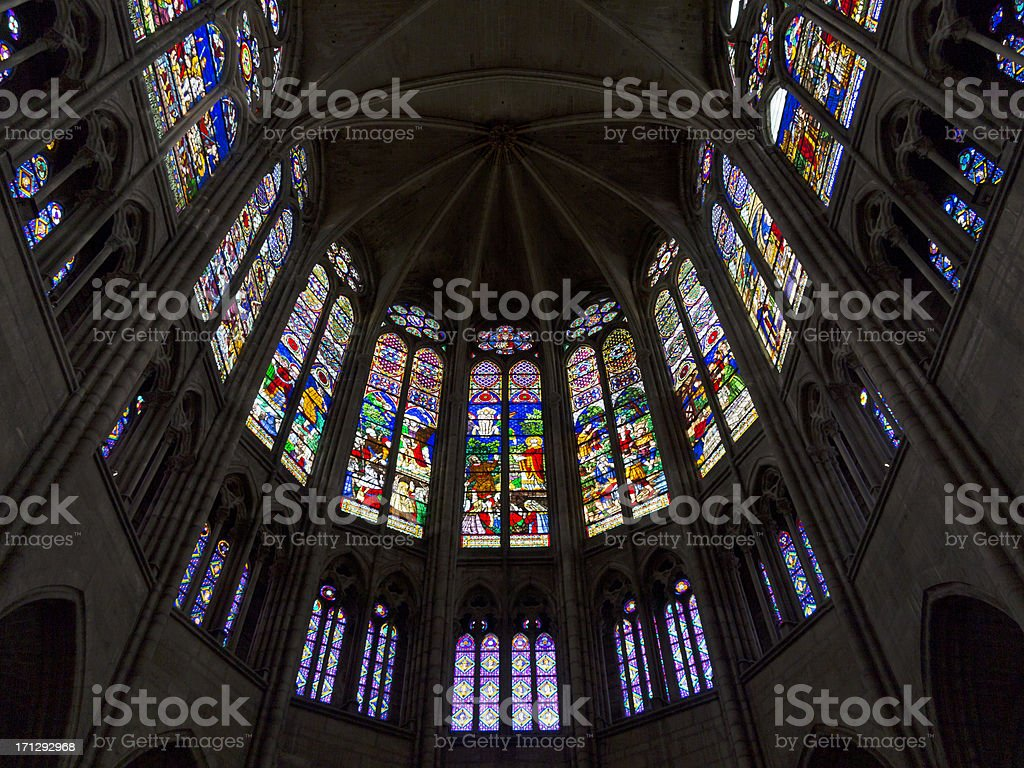 Stained Glass Windows, Paris France stock photo