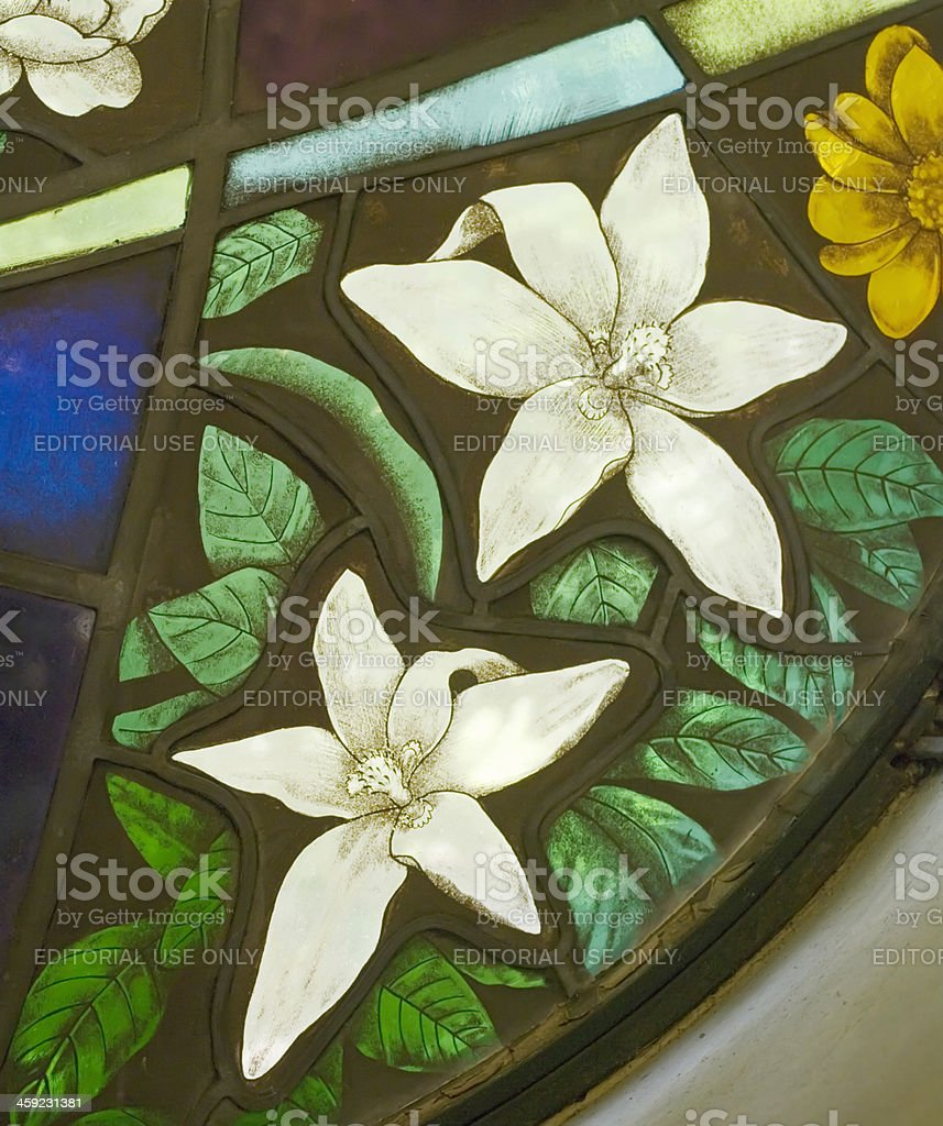 Stained Glass Windows with Flower Art royalty-free stock photo
