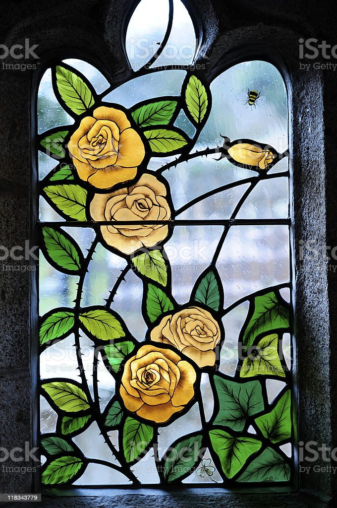 Stained glass,St.Brelade,Jersey. royalty-free stock photo