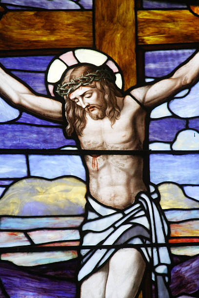 Stained Glass-The Crucifixion stock photo