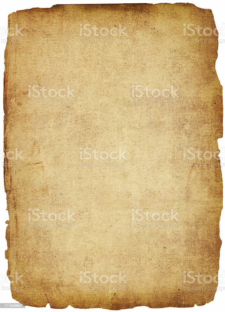 Stained old paper with rough edges stock photo