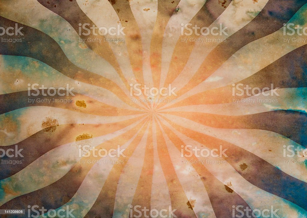 Stained paper with orange sunbeam and Ray's royalty-free stock photo
