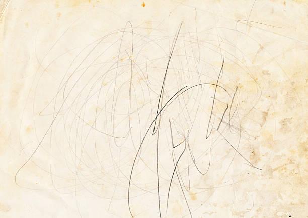gebeizt papier mit scribbles - scribble stock-fotos und bilder