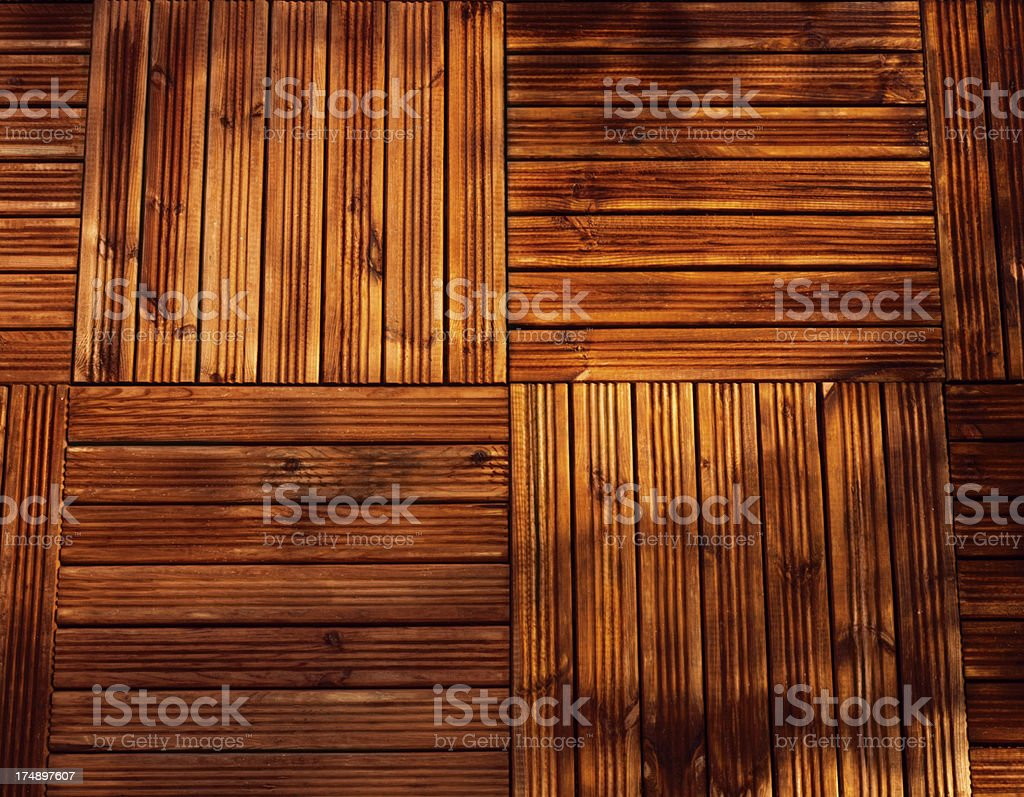 Stained wood decking background stock photo